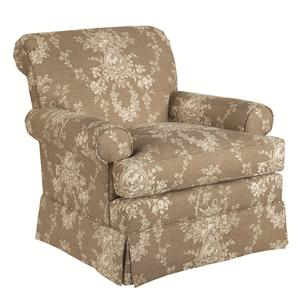 Macon Swivel Glider with Rolled Arms and Kick Pleat Skirt