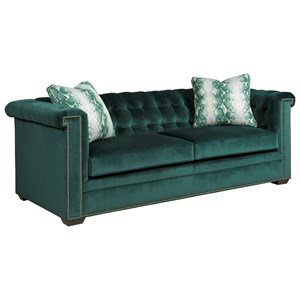 Transitional Sofa with Tufting and Tuxedo Arms