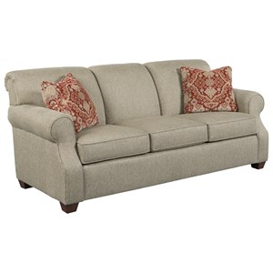 Sofa with Rolled Back and Tapered Wood Feet