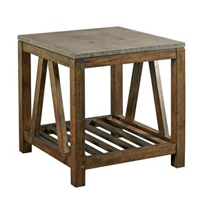 Industrial Rustic End Table with Finished Concrete Top