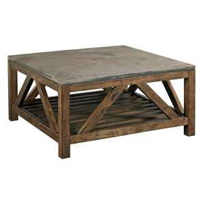 Industrial Rustic Square Cocktail Table with Finished Concrete Top