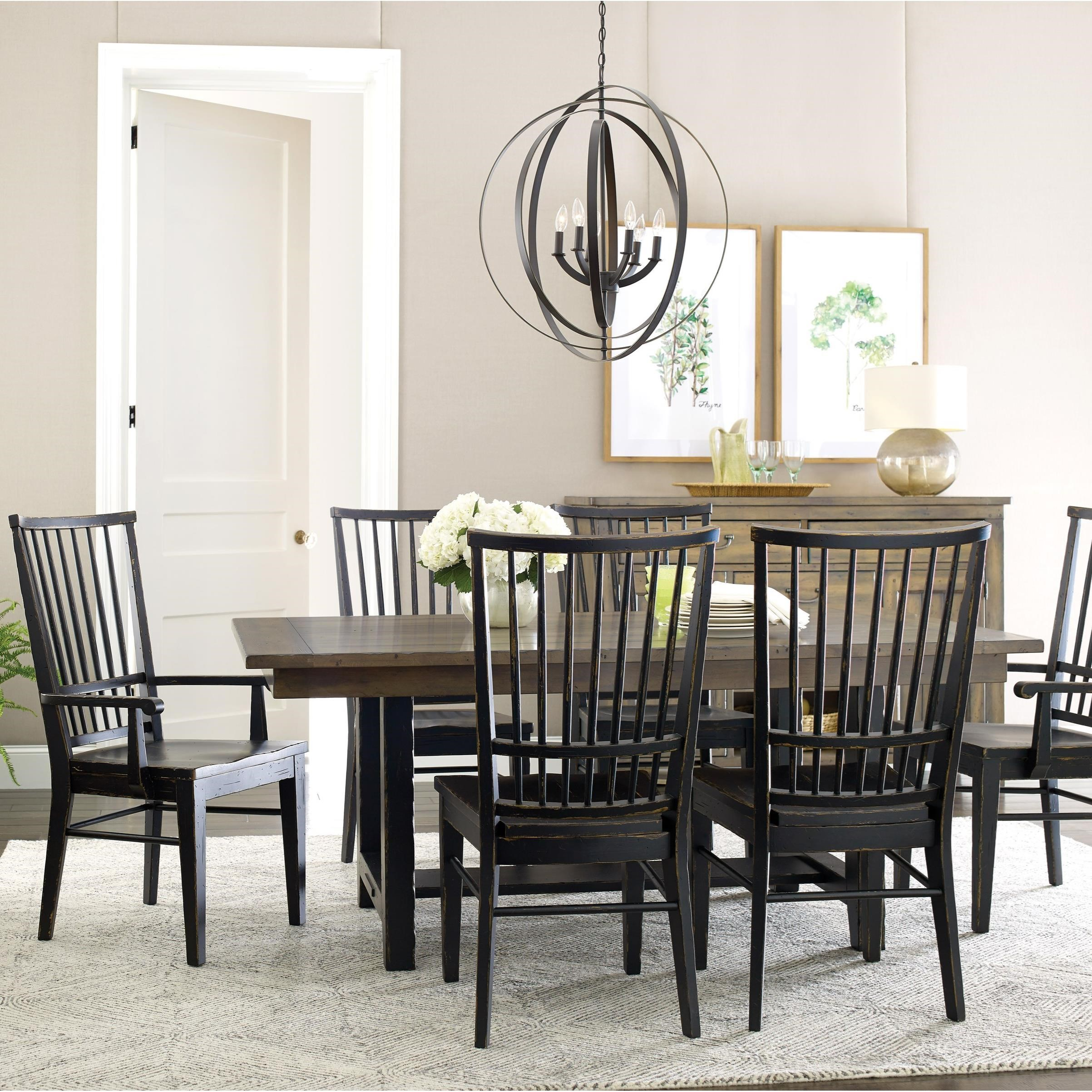 Mill House Dining Table and Chair Set for 6 by Kincaid Furniture at Northeast Factory Direct