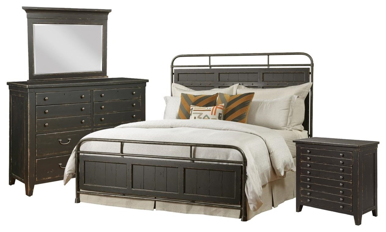 Mill House Queen Metal Bed, Dresser, Mirror, Chest by Kincaid Furniture at Johnny Janosik