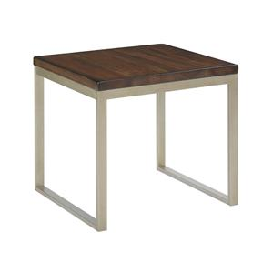 Linear End Table with Mahogany Top and Contemporary Metal Base