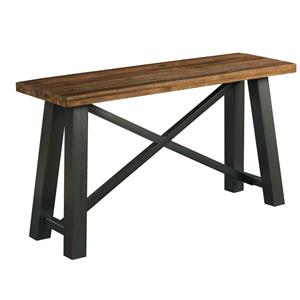 Crossfit Sofa Table with Solid Acacia Top and Rustic Metal Base