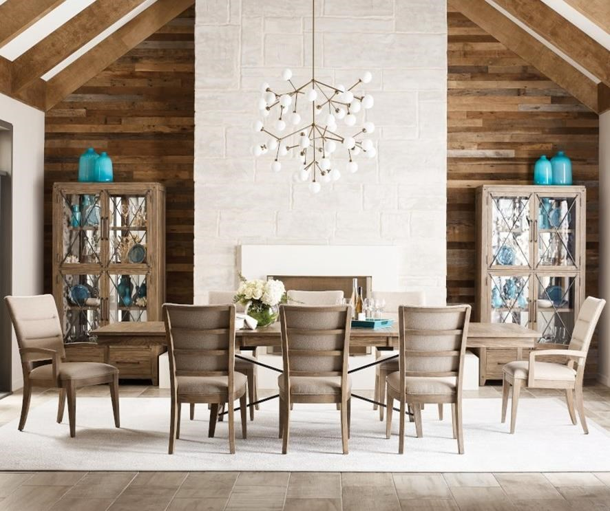 Modern Forge 9-Piece Dining Set with Upholstered Chairs at Stoney Creek Furniture