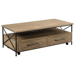 Modern Rustic 2-Drawer Solid Wood Coffee Table with Casters