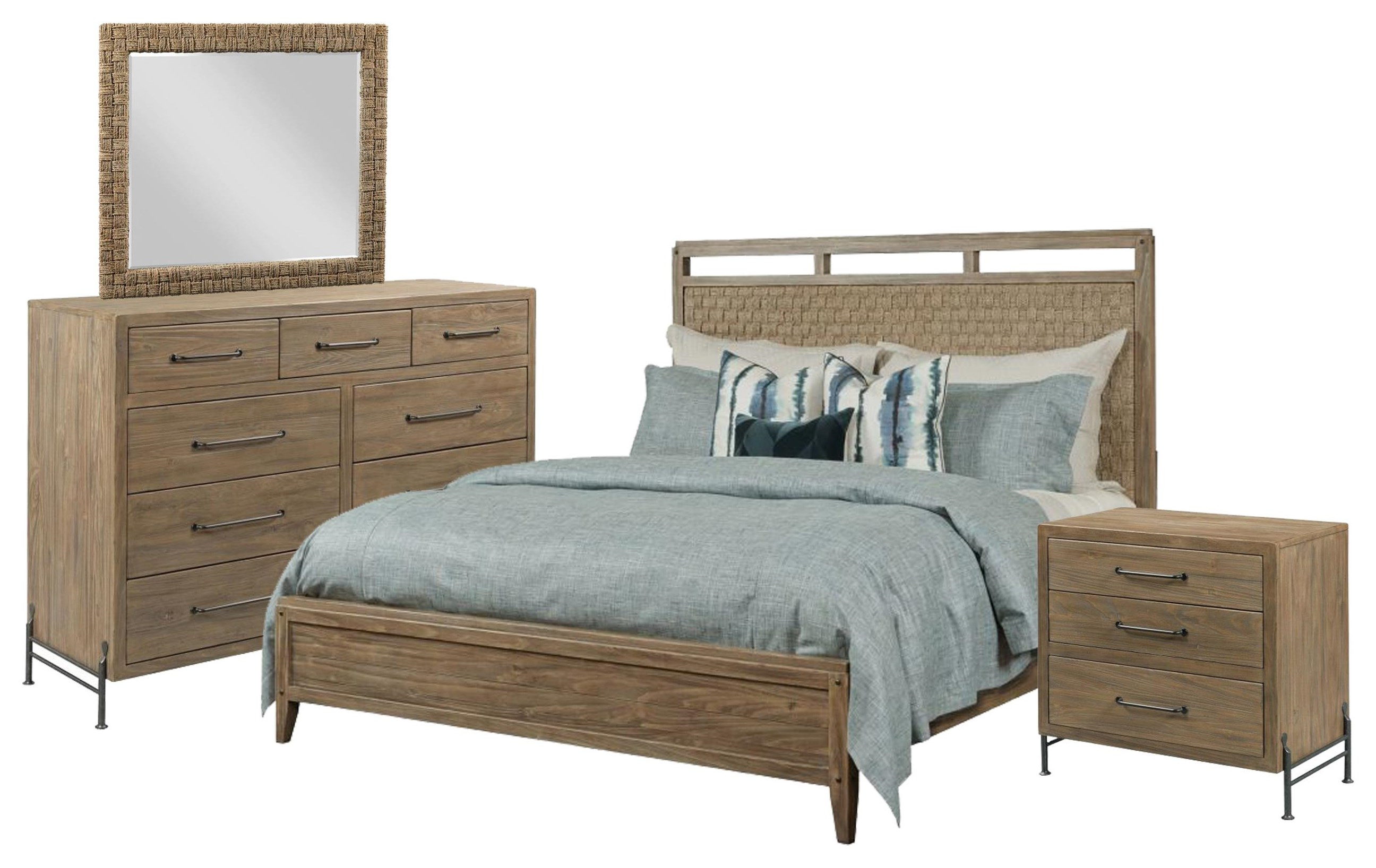 Modern Forge Queen Woven Bed, Chest, Mirror, Nightstand by Kincaid Furniture at Johnny Janosik