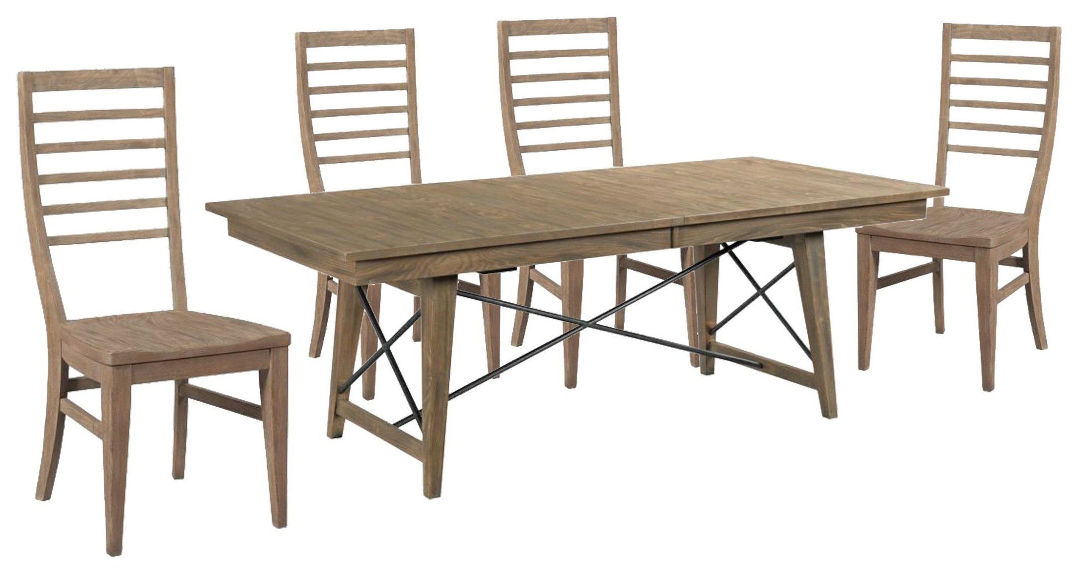 Modern Forge Rectangle Table and Ladderback Chair by Kincaid Furniture at Johnny Janosik