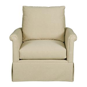 Customizable Chair with Rolled Panel Arms and Skirted Base