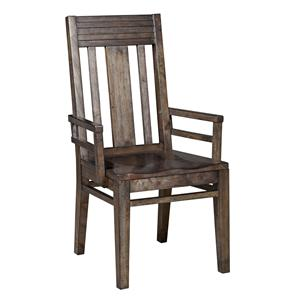 Contemporary Slat-Back Arm Chair with Grooved Mouldings