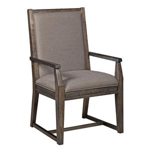 Contemporary Upholstered Arm Chair with Tapered Legs and Slat-Back Detail