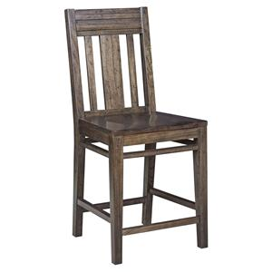 Contemporary Solid Wood Slat-Back Bar Stool