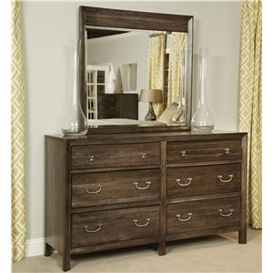 Contemporary Saxony Dresser and Montreat Mirror Set with Self-Close Drawers