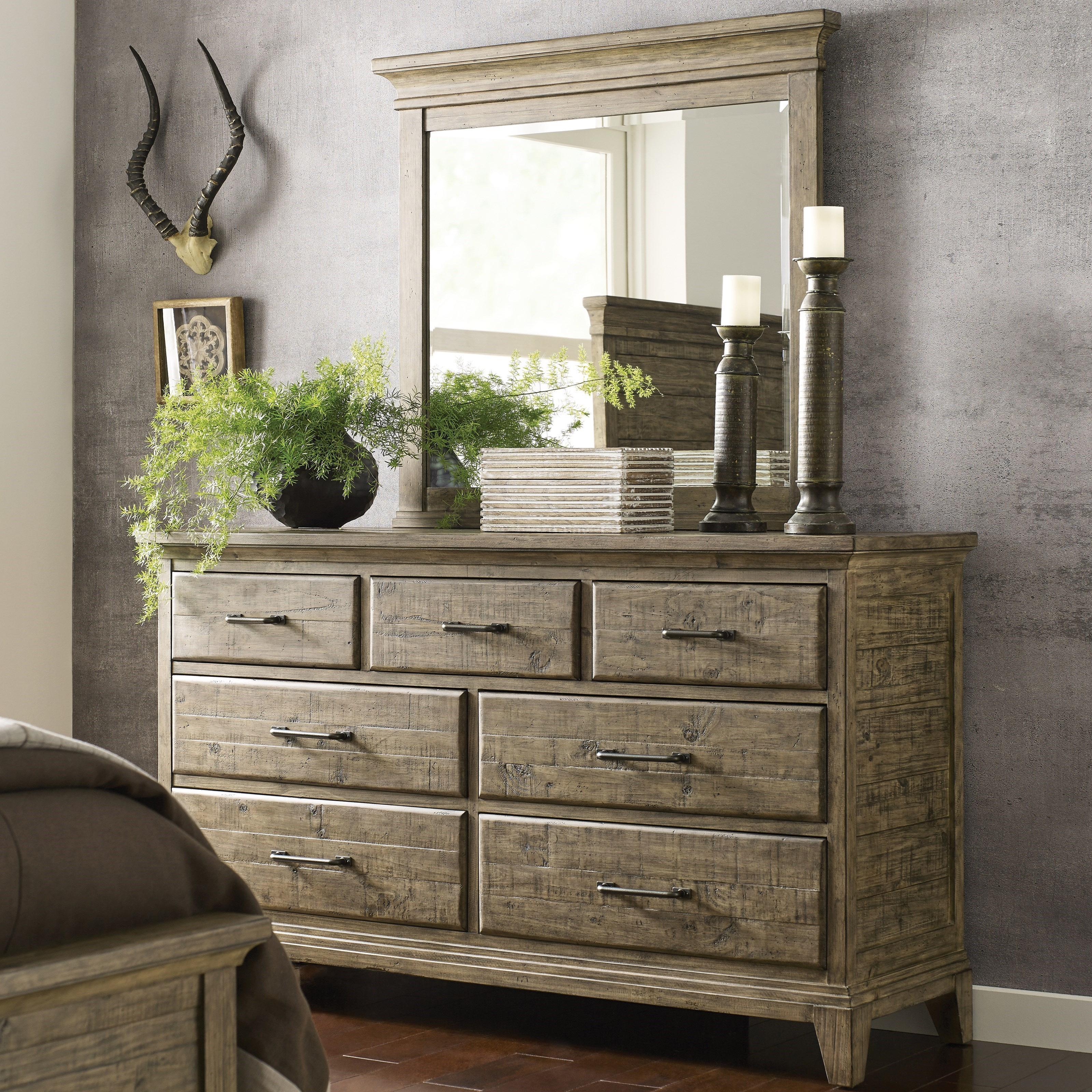 Plank Road Farmstead Dresser & Jessup Mirror Set by Kincaid Furniture at Johnny Janosik