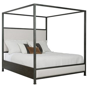 Shelley California King Bed with Metal Canopy and Upholstered Headbboard