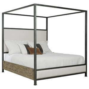 Shelley King Bed with Metal Canopy and Upholstered Headbboard