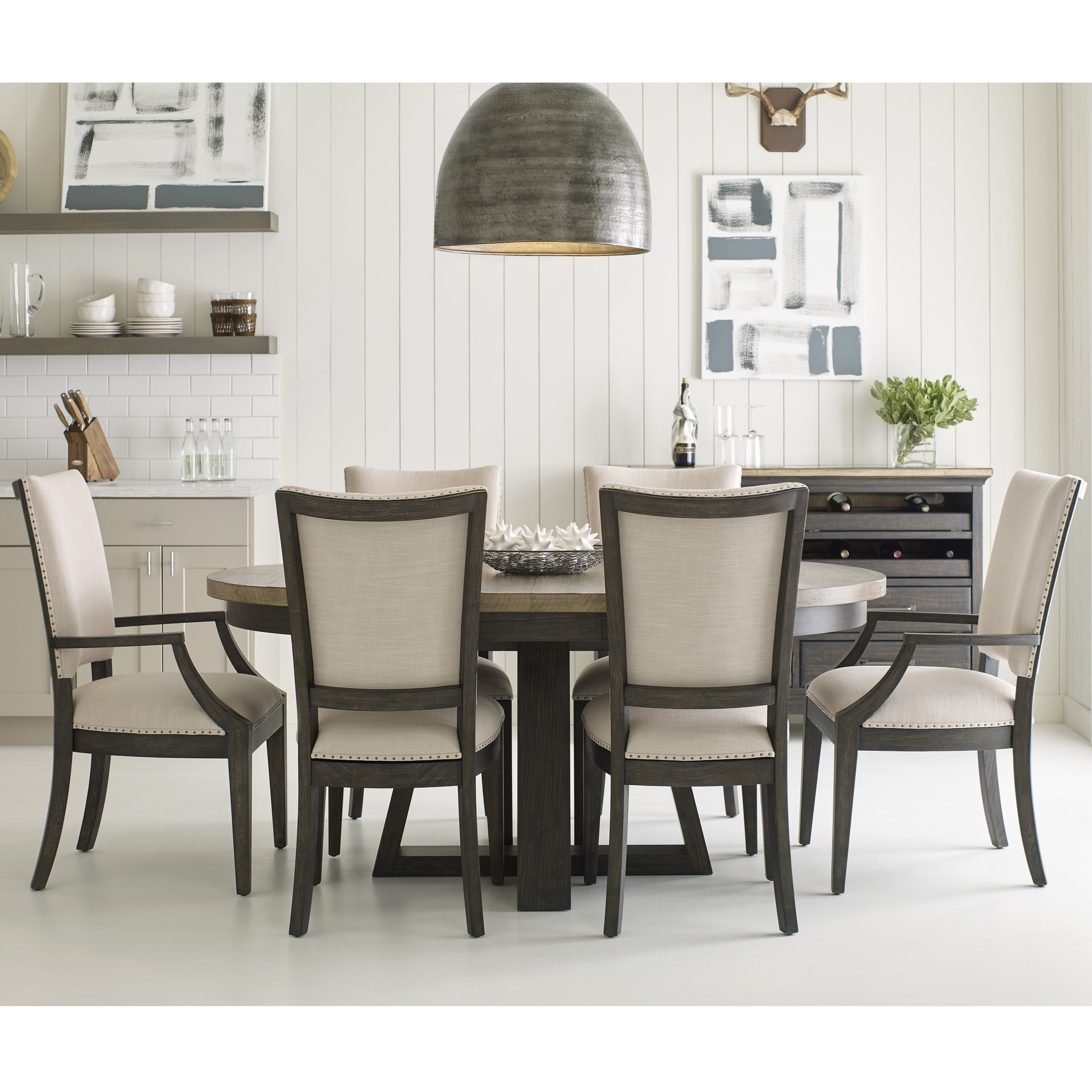 Plank Road 7 Pc Dining Set w/ Button Table by Kincaid Furniture at Northeast Factory Direct