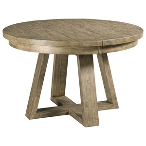 Button Solid Wood Dining Table with One Extension Leaf