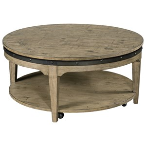 Artisans Round Solid Wood Cocktail Table with Hidden Casters