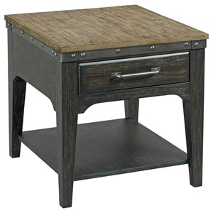 Artisans Rectangular Solid Wood End Table with One Drawer