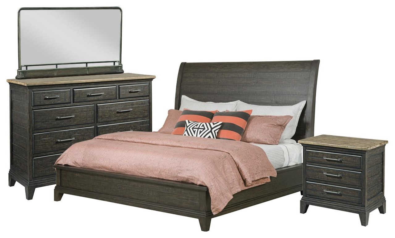 Plank Road King Sleigh Bed, Bureau, Mirror, Nightstand by Kincaid Furniture at Johnny Janosik