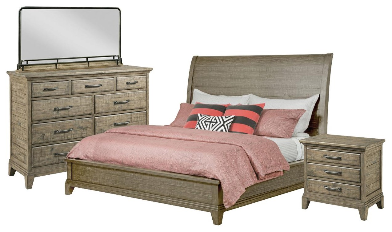 Plank Road Queen Sleigh Bed, Bureau, Mirror, Nightstand by Kincaid Furniture at Johnny Janosik