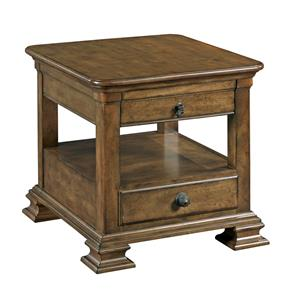 Traditional Rectangular Solid Wood End Table with Display Shelf