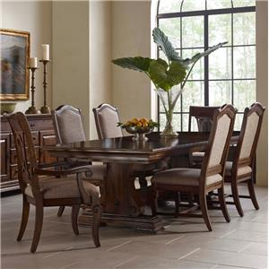 Seven Piece Trestle Table, Upholstered Side Chair, and Harp Back Chair Set