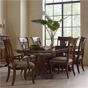 Seven Piece Trestle Table and Harp Back Chair Set