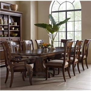Nine Piece Trestle Table and Harp Back Chairs Set
