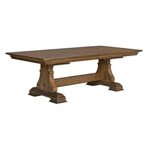 Portolone Solid Wood Trestle Table with Two Extension Leaves