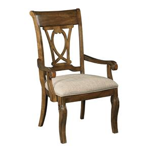 Traditional Solid Wood Harp Back Arm Chair with Upholstered Seat
