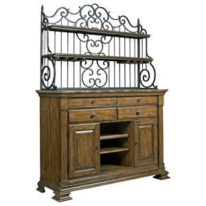Solid Wood Sideboard with Marble Top and Wrought Iron Baker's Rack