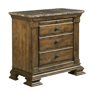 Traditional Solid Wood Bachelor's Chest with Marble Top and Pull-Out Shelf