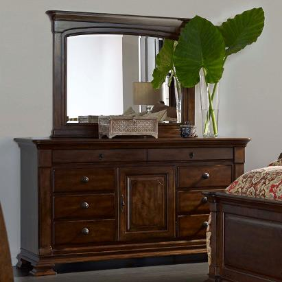 Portolone Basilica Dresser and Landscape Mirror Set by Kincaid Furniture at Johnny Janosik
