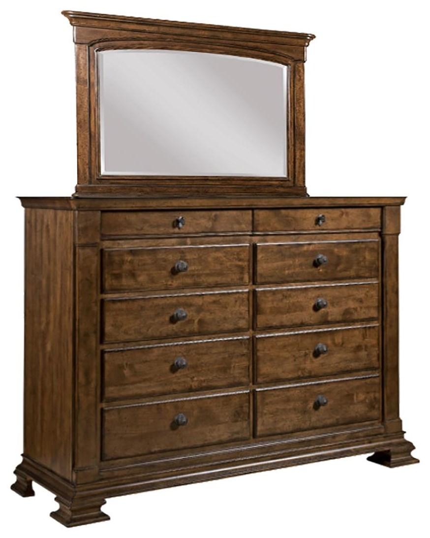 Portolone Bureau and Mirror by Kincaid Furniture at Johnny Janosik