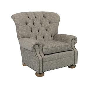 Traditional Button-Tufted Chair with Rolled Back and Nailheads