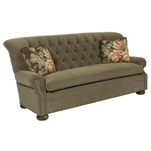 Traditional 86 Inch Button-Tufted Sofa with Rolled Back and Nailheads