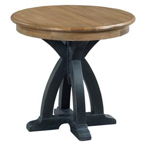 Transitional Rustic Round Wood End Table