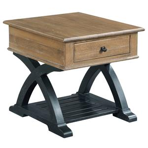 Transitional Rustic Rectangular End Table with Drawer and One Shelf