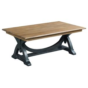 Transitional Rustic Rectangular Cocktail Table with Painted Trestle Base
