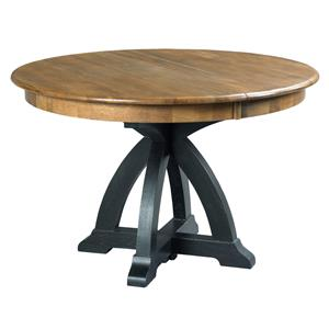 Transitional Rustic Round Dining Table with One Extension Leaf