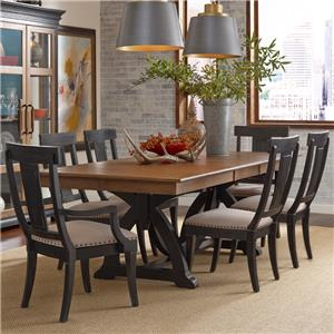 Seven Piece Dining Set with Rectangular Table and Black Painted Chairs