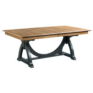 Transitional Rustic Trestle Table with Two Extension Leaves