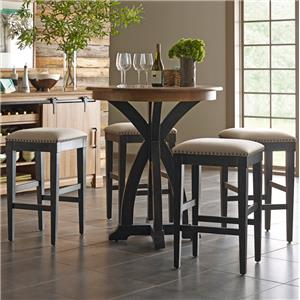 Transitional Five Piece Rustic Bistro Table and Bar Stool Set in Black