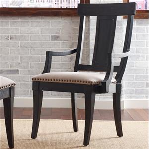 Transitional Arm Chair with Upholstered Seat and Nailhead Trim