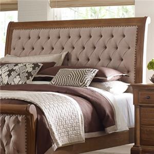 King Size Upholstered Sleigh Headboard with Button Tufting and Nailhead Trim