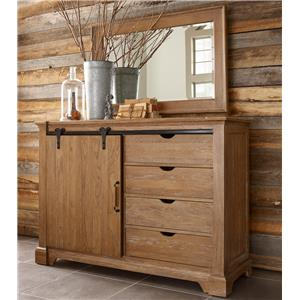 Transitional Rustic Sliding Barn Door Media Chest and Landscape Mirror Set