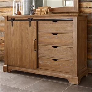 Transitional  Rustic Sliding Barn Door Media Chest with Clothing Storage